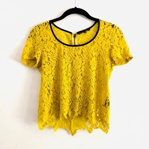 Lucca Couture Lace Floral Top Yellow XS